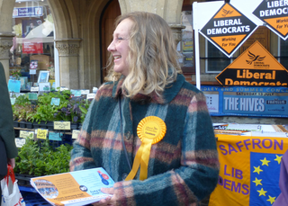Lucy Nethsingha campaigning in Saffron Walden